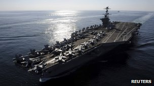 Aircraft carrier USS John C Stennis in the Strait of Hormuz - photo 12 November 2011