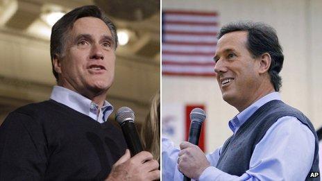 Mitt Romney and Rick Santorum