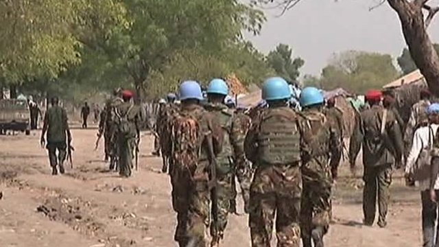 South Sudanese and UN troops