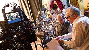 Martin Scorsese and Sir Ben Kingsley on the set of Hugo