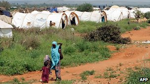 Mother and child in camp for people displaced by drought and famine in Ethiopia