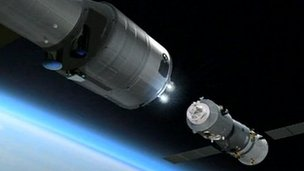 Artist's impression of Shenzhou 8 docking with Tiangong-1
