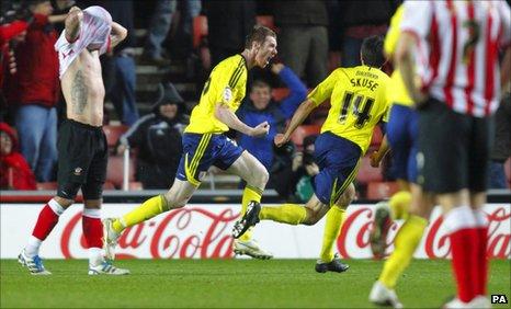 Stephen Pearson celebrates