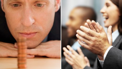 Man looking at change, business executives clapping