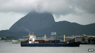 A cargo ship entering Rio de Janeiro&#039;s Guanabara Bay