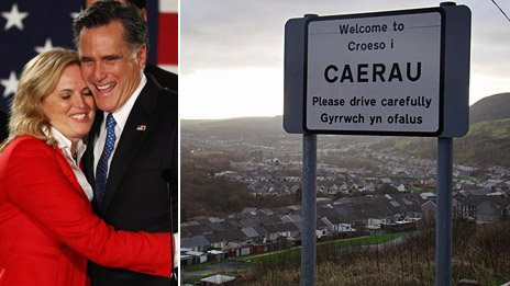 Ann and Mitt Romney and Caerau near Maesteg in south Wales