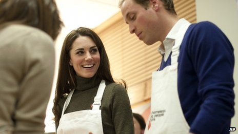 The Duke and Duchess of Cambridge take part in a cookery session during a visit to the Centrepoint charity in December 2011.