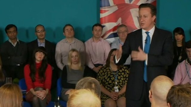 David Cameron talks to an audience of small businesses and entrepreneurs