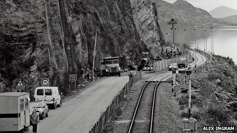 Cars on railway line in 1990. Pic: Alex Ingram