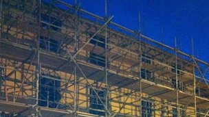 The former Angel hotel is covered in scaffolding