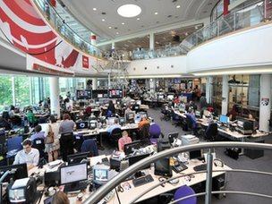 the main BBC newsroom at BBC Television Centre