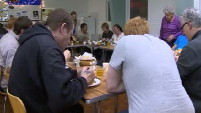 Homeless people at a church hall in Swansea