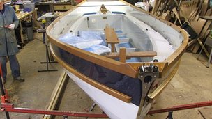 Drascombe sailing boat being produced