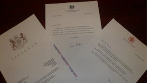 Letters from Buckingham Palace and Downing Street