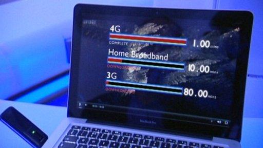 Computer showing 4G speeds