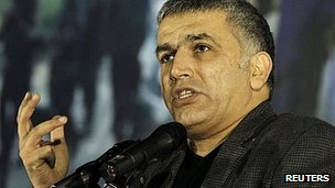 Nabeel Rajab addresses opposition rally  in Budaiya, west of Manama. 9 Dec 2011