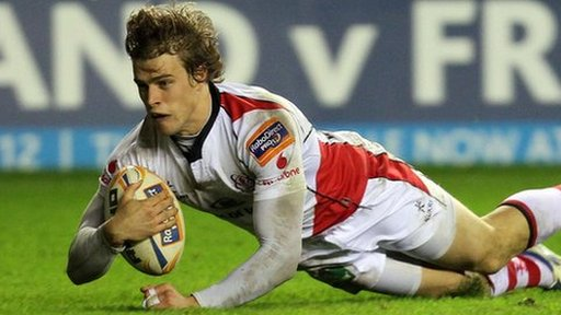 Andrew Trimble touches down for a try against Edinburgh