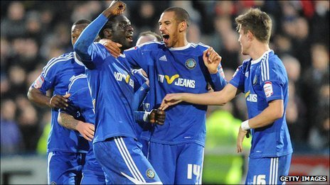 Macclesfield Town's Arnaud Mendy celebrates