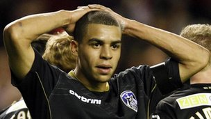 Tom Adeyemi, 20, playing for Oldham Athletic against Liverpool in the FA Cup 3rd round at Anfield