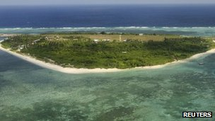 An aerial view of Pagasa (Thitu) Island, part of the disputed Spratly group of islands off the coast of the Philippines (image from July 2011)