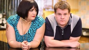 Ruth Jones as Nessa and James Corden as Smith in Gavin and Stacey