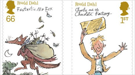 Stamps celebrating Roald Dahl