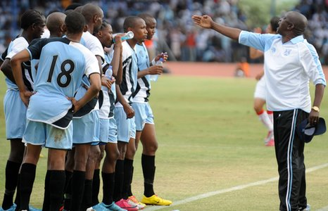 Botswana coach Stanley Tshosane instructs his squad