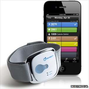 The Bodymedia wristband with an iPhone