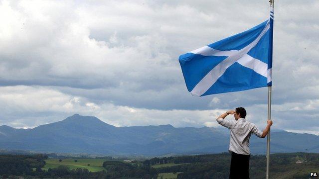 A man holding a Scottish Flag (File photo)