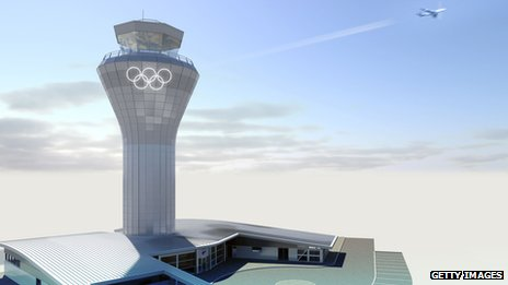 An artists impression of how the Olympic Rings at will look Birmingham Airport