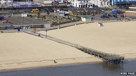 Aerial view of Great Yarmouth jetty