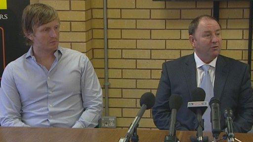 Terry Skiverton and Gary Johnson talk to the press