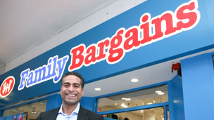 Hussein Lalani outside a Family Bargains store