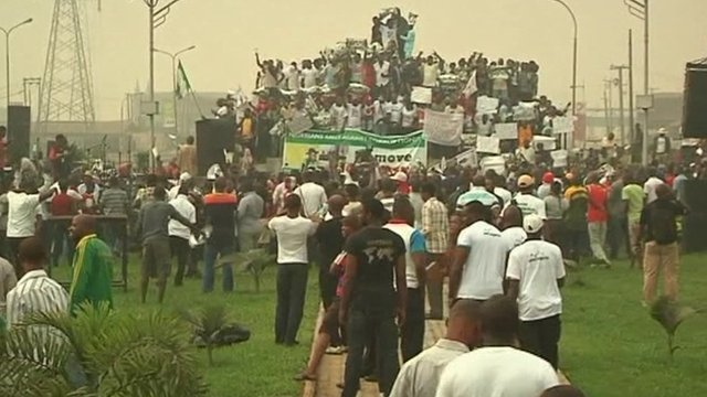 Demonstrators at Nigeria's fuel protest