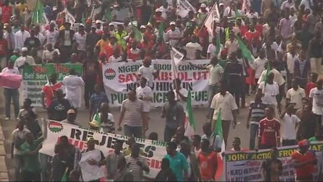 Protesters in the streets in Nigeria