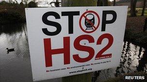 Sign in Little Missenden, Buckinghamshire, protesting against HS2
