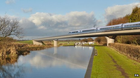 Handout image of what a train on the new HS2 high speed rail line might look like