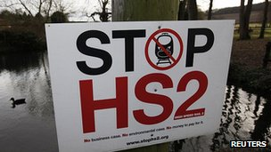 Placard in Little Missenden, Buckinghamshire, opposing the HS2 route