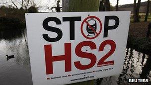 Placard in Little Missenden, Buckinghamshire, opposing the HS2 route