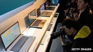 Laptops on display at the Intel event at CES 2012