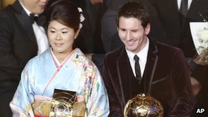 Japanese captain Homare Sawa (seen with Lionel Messi) at the FIFA Ballon d&#039;Or in Zurich on 9 January, 2012