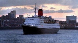 A cruise liner on the Mersey