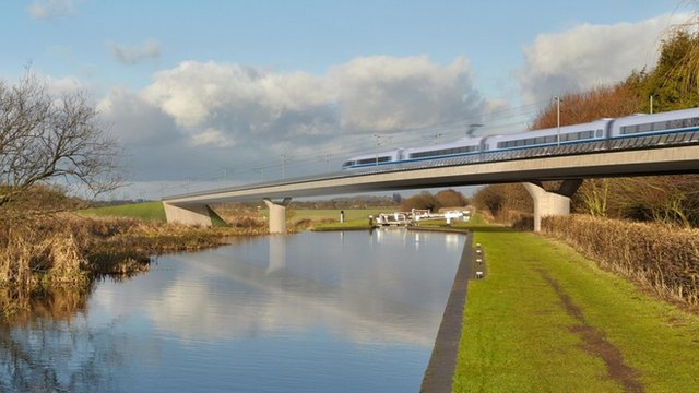 A computer-generated image of an HS2 train on a bridge