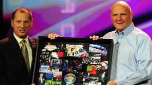 Gary Shapiro from the Consumer Electronics Association and Microsoft CEO Steve Ballmer at CES 2012