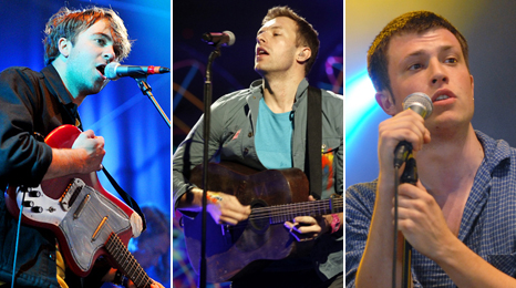 The Vaccines's Justin Young, Coldplay's Chris Martin and Orlando from The Maccabees