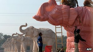 Statue of elephant covered up in Ambedkar Park in Noida (10/01/12)
