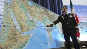 Iran's navy chief Admiral Habibollah Sayyari briefs media