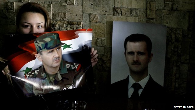 Pro-Assad woman in Damascus