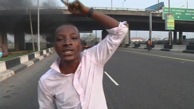 Angry protester in Lagos