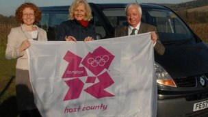 Anna Tomkins from Visit Surrey, Denise Saliagopoulos from Surrey County Council and Denis Bone from Roadrunners Gatwick